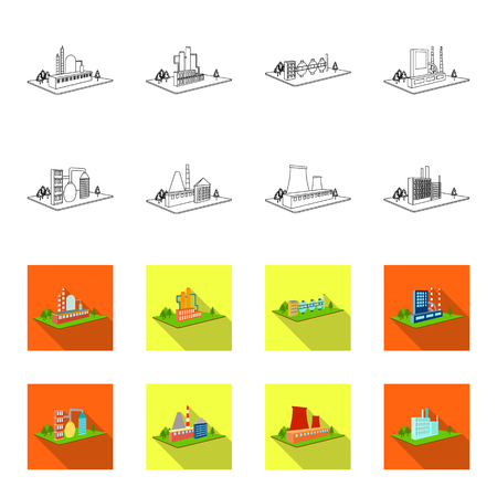 Processing factory,metallurgical plant. Factory and industry set collection icons in outline,flat style isometric vector symbol stock illustration web.
