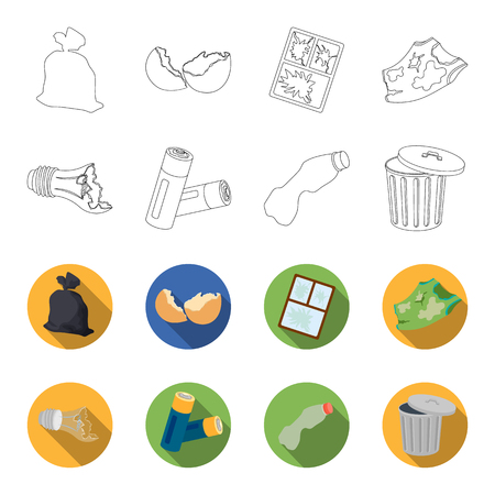 Broken light bulb, used batteries, breaking a plastic bottle, garbage can with a sign.Garbage and trash set collection icons in outline,flat style vector symbol stock illustration web.