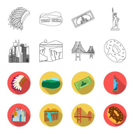 A megacity, a grand canyon, a golden gate bridge,donut with chocolate. The US country set collection icons in outline,flat style vector symbol stock illustration web. Illustration