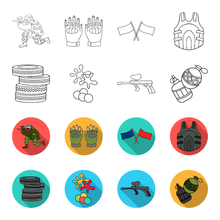 Competition, contest, equipment, tires .Paintball set collection icons in outline,flat style vector symbol stock illustration web.