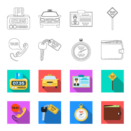 Handset with the inscription of a taxi, car keys with a key fob, a stopwatch with a fare, a purse with money, dollars. Taxi set collection icons in outline,flat style vector symbol stock illustration web.