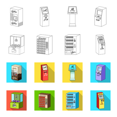 A game machine, a ticket sales terminal, an automaton for selling aqua and chocolate. Terminals set collection icons in outline,flat style isometric vector symbol stock illustration web .