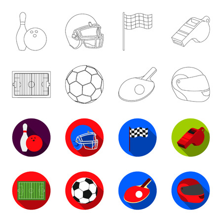 Field, stadium with markings for playing football, football ball, racket with a ball for ping-pong, protective helmet for the game,glove for baseball or rugby. Sport set collection icons in outline,flat style vector symbol stock illustration web.