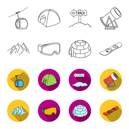 Mountains, goggles, an igloo, a snowboard. Ski resort set collection icons in outline,flat style vector symbol stock illustration web.
