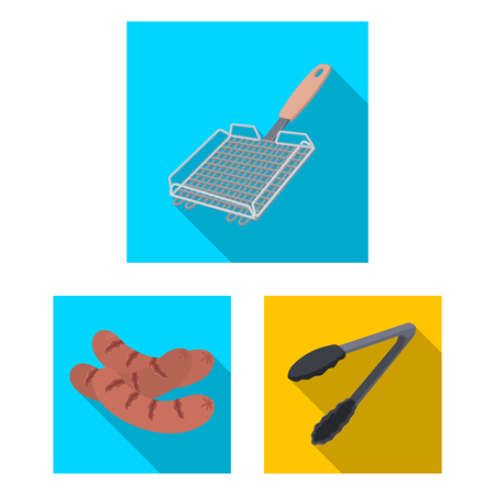 Barbecue and equipment flat icons in set collection for design. Picnic and fried food vector symbol stock web illustration. Standard-Bild - 101506412