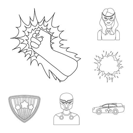 A fantastic superhero outline icons in set collection for design. Superhero equipment vector symbol stock web illustration. Stock Vector - 101447749