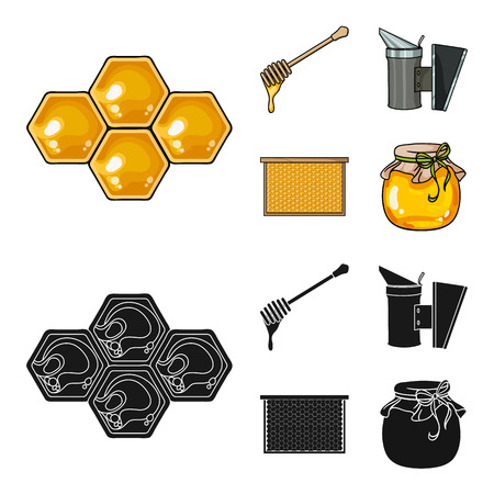 A frame with honeycombs, a ladle of honey, a fumigator from bees, a jar of honey.Apiary set collection icons in cartoon,black style vector symbol stock illustration web.