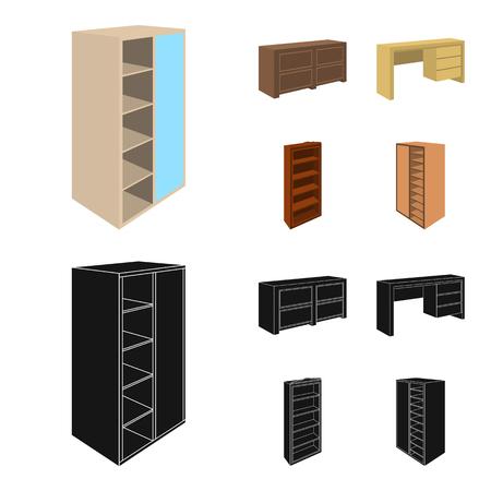 Armario con espejo, armario empotrado, estanterías con entrepisos. Los muebles del dormitorio fijaron iconos de la colección en web del ejemplo de la acción del símbolo del vector del estilo de la historieta.