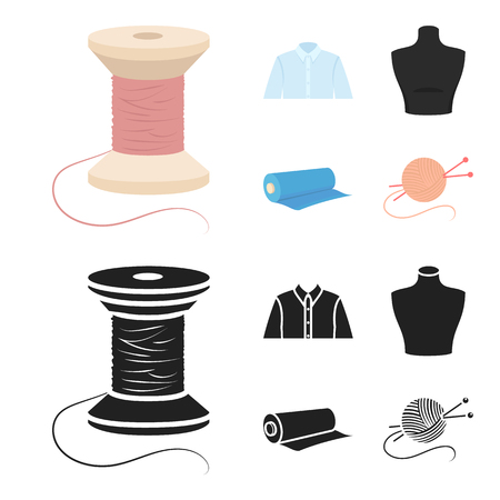 A man shirt, a mannequin, a roll of fabric, a ball of threads and knitting needles.Atelier set collection icons in cartoon,black style vector symbol stock illustration web.