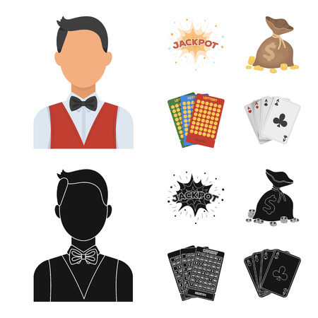 Jack sweat, a bag with money won, cards for playing Bingo, playing cards. Casino and gambling set collection icons in cartoon,black style vector symbol stock illustration web.