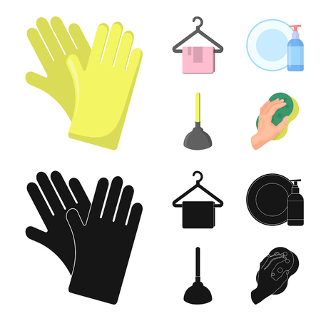 Cleaning and maid cartoon,black icons in set collection for design. Equipment for cleaning vector symbol stock web illustration.