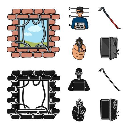 Photo of criminal, scrap, open safe, directional gun.Crime set collection icons in cartoon,black style vector symbol stock illustration web.