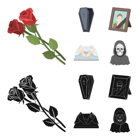 Coffin with a lid and a cross, a photograph of the deceased with a mourning ribbon, a corpse on the table with a tag in the morgue, death in a hood. Funeral ceremony set collection icons in cartoon,black style vector symbol stock illustration web.
