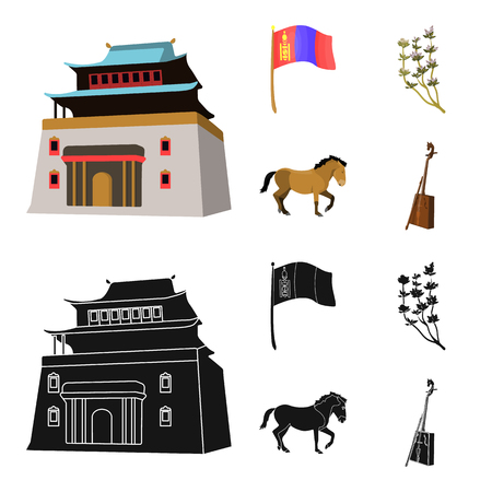 National flag, horse, musical instrument, steppe plant. Mongolia set collection icons in cartoon,black style vector symbol stock illustration web. Çizim