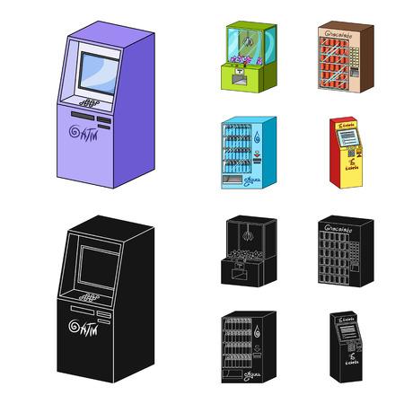 Una máquina de juegos, una terminal de venta de entradas, un autómata para vender agua y chocolate. Los terminales establecen los iconos de la colección en la web de dibujos animados estilo isométrico vector símbolo stock de ilustración.