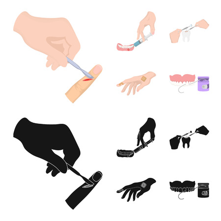 Anesthetic injection, dental instrument, hand manipulation, tooth cleaning and other web icon in cartoon,black style.bactericidal plaster, medicine icons in set collection.