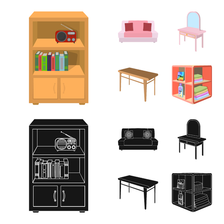 Soft sofa, toilet make-up table, dining table, shelving for laundry and detergent. Furniture and interior set collection icons in cartoon,black style isometric vector symbol stock illustration web.