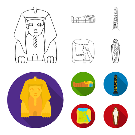 The territory of Egypt, the Sphinx, the pharaoh sarcophagus, the Egyptian pillar with the inscription.Ancient Egypt set collection icons in outline,flat style vector symbol stock illustration web.
