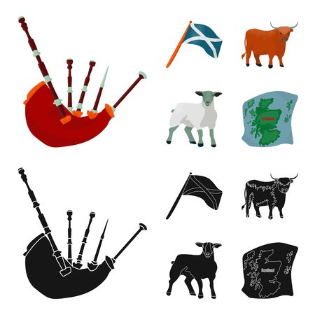 The state flag of Andreev, Scotland, the bull, the sheep, the map of Scotland. Scotland set collection icons in cartoon,black style vector symbol stock illustration web.