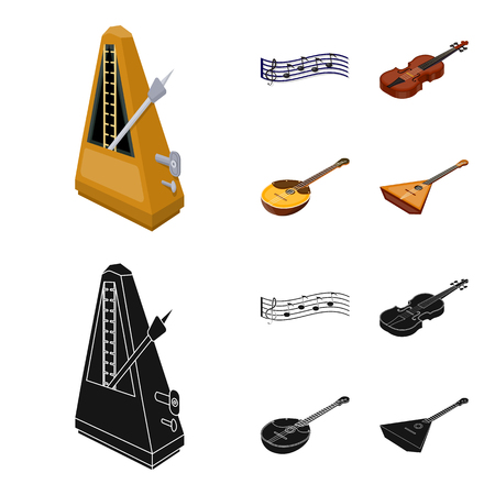 Musical instrument cartoon,black icons in set collection for design. String and Wind instrument isometric vector symbol stock web illustration. Иллюстрация