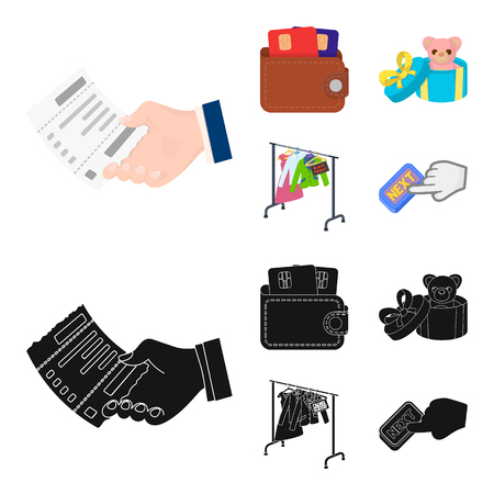 Purse with credit cards and other web icon in cartoon,black style. gift sale of things, button more icons in set collection. Illustration