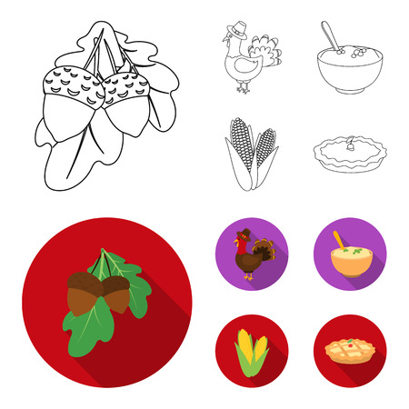 Acorns, corn.arthene puree, festive turkey,Canada thanksgiving day set collection icons in outline,flat style vector symbol stock illustration web.