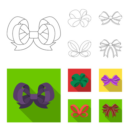 Multicolored bows cartoon,black,flat,outline icons in set collection for design.Bow for decoration vector symbol stock web illustration.