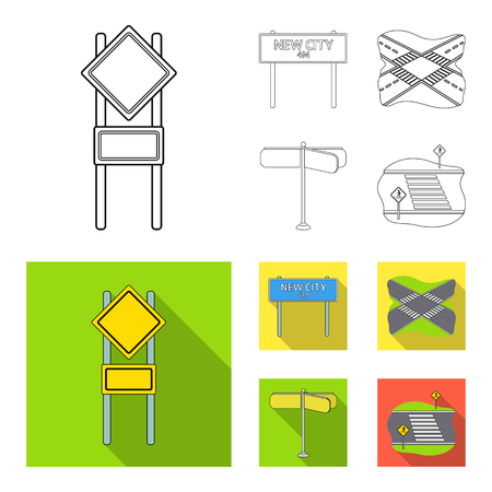 Road signs and other web icon in outline,flat style.Road junctions icons in set collection. Illustration