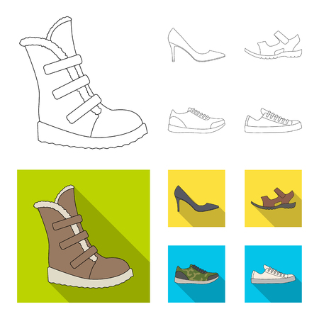 A set of icons on a variety of shoes.Different shoes single icon in outline,flat style vector web symbol stock illustration. Ilustração
