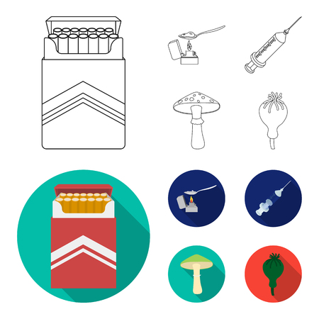 Cigarettes, a syringe, a galoyucinogenic fungus, heroin in a spoon.Drug set collection icons in outline,flat style vector symbol stock illustration web.
