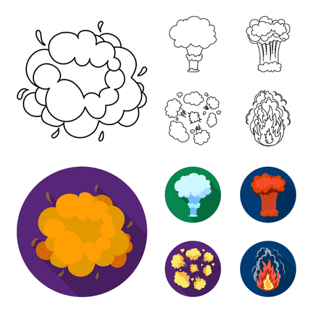 Flame, sparks, hydrogen fragments, atomic or gas explosion. Explosions set collection icons in outline,flat style vector symbol stock illustration web. Banco de Imagens - 101448193