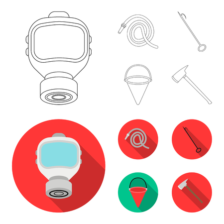 Gas mask, hose, bucket, bagore. Fire department set collection icons in outline,flat style vector symbol stock illustration web.