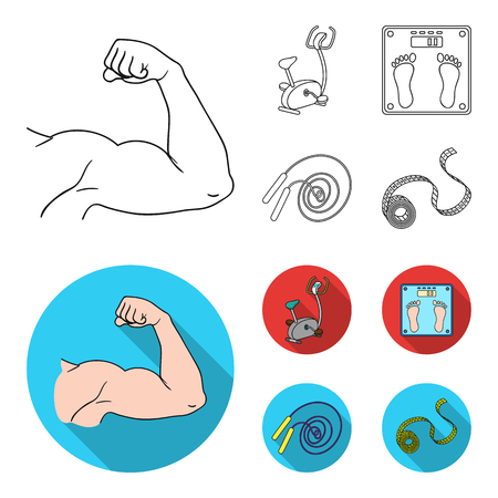 Biceps, exercise bike, scales for weighing, skalka. Fitnes set collection icons in outline,flat style vector symbol stock illustration web. Foto de archivo - 101700014