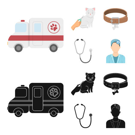 Collar, bone, cat, haircut .Vet Clinic set collection icons in cartoon,black style vector symbol stock illustration web.