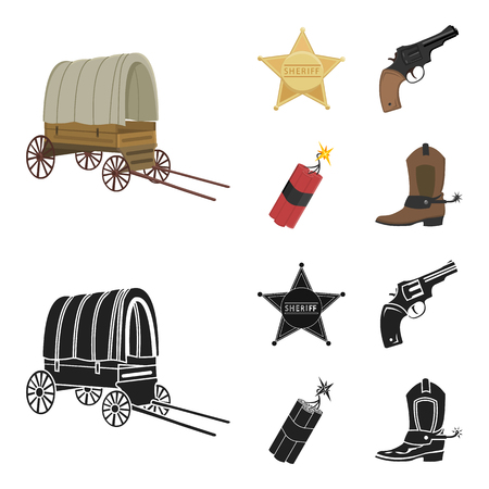 Star sheriff, Colt, dynamite, cowboy boot. Wild West set collection icons in cartoon,black style vector symbol stock illustration web. 일러스트