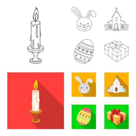 Church, candle, easter bunny and painted egg.Easter set collection icons in outline,flat style vector symbol stock illustration web. Illustration
