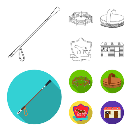 Aviary, whip, emblem, hippodrome .Hippodrome and horse set collection icons in outline,flat style vector symbol stock illustration web.