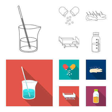 Solution, tablet, acupuncture, hospital gurney.Medicine set collection icons in outline,flat style vector symbol stock illustration web.