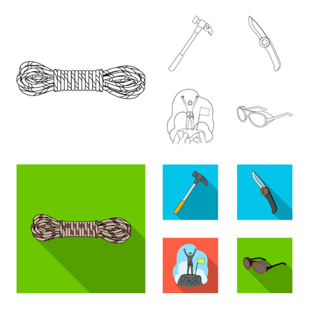 Climber on conquered top, coil of rope, knife, hammer.Mountaineering set collection icons in outline,flat style vector symbol stock illustration web.  イラスト・ベクター素材