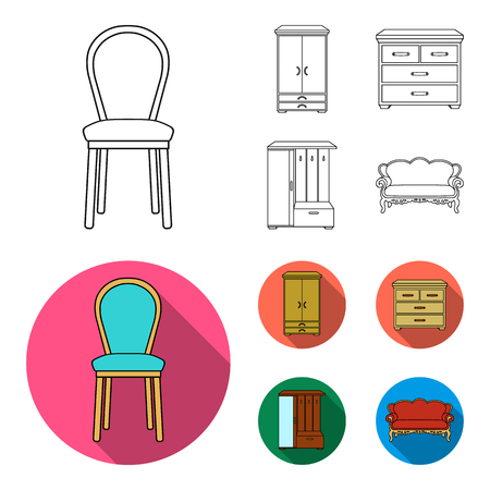 Armchair, cabinet, bedside, table .Furniture and home interiorset collection icons in outline,flat style vector symbol stock illustration web.