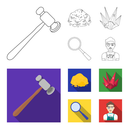 A jeweler hammer, a magnifier, a copper ore, a crystal. Precious minerals and a jeweler set collection icons in outline,flat style vector symbol stock illustration web. Vectores