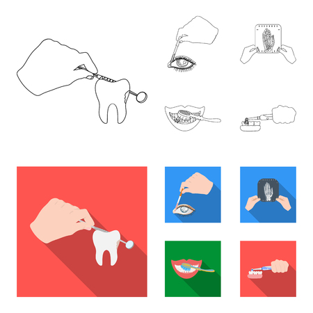 Examination of the tooth, instillation of the eye and other web icon in outline,flat style. A snapshot of the hand, teeth cleaning icons in set collection. Illustration