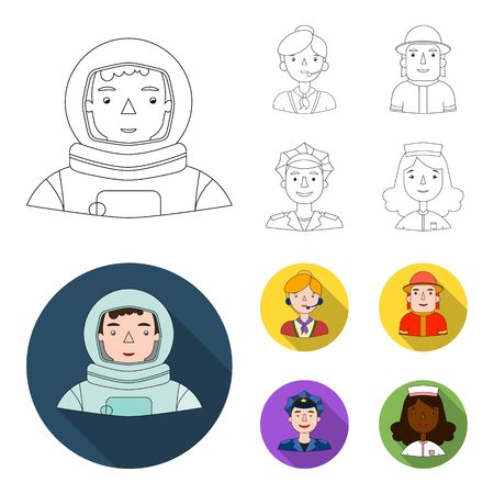 An astronaut in a spacesuit, a co-worker with a microphone, a fireman in a helmet, a policeman with a badge on his cap. People of different professions set collection icons in outline,flat style vector symbol stock illustration web.