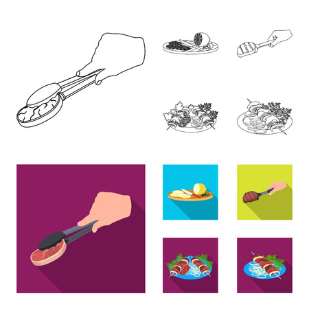 Tongs with steak, fried meat on a scoop, slicing lemon and olives, shish kebab on a plate with vegetables. Food and Cooking set collection icons in outline,flat style vector symbol stock illustration web.
