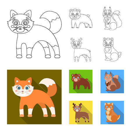 Zoo, nature, reserve and other web icon in outline,flat style.Artiodactyl, nature, ecology, icons in set collection.
