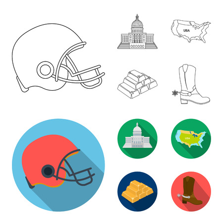 Football player helmet, capitol, territory map, gold and foreign exchange. USA Acountry set collection icons in outline,flat style vector symbol stock illustration web.