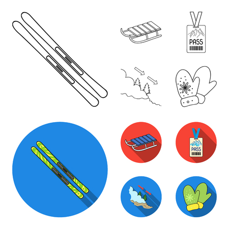 Ski, sled, lifeguard badge, badge avalanche. Ski resort set collection icons in outline,flat style vector symbol stock illustration web.