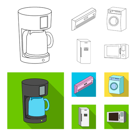 Home appliances and equipment outline,flat icons in set collection for design.Modern household appliances vector symbol stock web illustration.