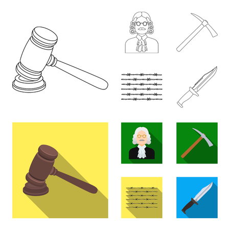 Judge, wooden hammer, barbed wire, pickaxe. Prison set collection icons in outline,flat style vector symbol stock illustration web.