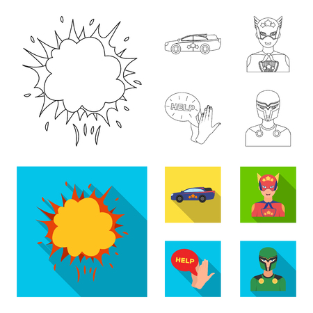 Explosion, fire, smoke and other web icon in outline,flat style.Superman, superforce, cry, icons in set collection. Illustration